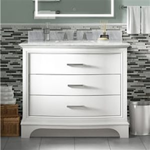 allen + roth Tennaby 42-in Single Sink White Bathroom Vanity With Natural Marble Top