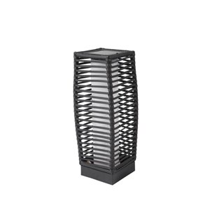 allen + roth 18-in Black Metal Outdoor Solar LED Lantern