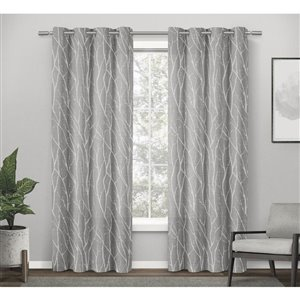 Design Decor Finesse Linen Look Jacquard 84-in Dove Grey Polyester Grommet Room Darkening Single Curtain Panel