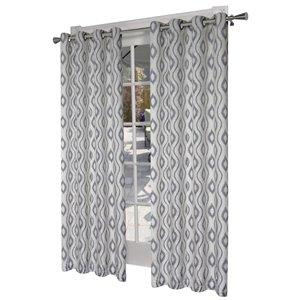 Design Decor Taury Printed Linen Blend 96-in Black Pearl Polyester Grommet Room Darkening Single Curtain Panel