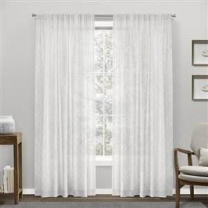 Design Decor Cali Embroidered Linen Look 84-in White Faux Linen Rod Pocket Light Filtering Semi-Sheer Single Curtain Panel