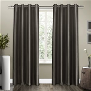 Design Decor Shantung Blackout 96-in Black Pearl Polyester Grommet Blackout Thermal Lined Single Curtain Panel