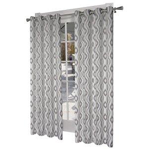 Design Decor Taury Printed Linen Blend 96-in Stone Polyester Grommet Room Darkening Single Curtain Panel