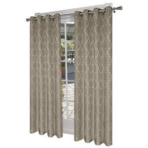 Design Decor Oasis Linen Look Jacquard Thermal 96-in Natural Polyester Grommet Blackout Thermal Lined Single Curtain Panel