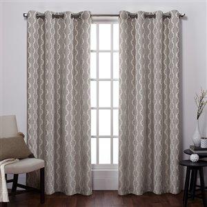 Design Decor Baroque Linen Look Jacquard 96-in Natural Polyester Grommet Room Darkening Single Curtain Panel