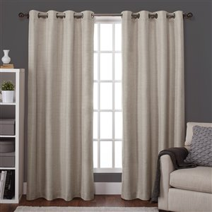 Design Decor Raw Silk Look Thermal 96-in Taupe Polyester Grommet Blackout Thermal Lined Single Curtain Panel