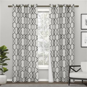Design Decor Kochi Printed Thermal 96-in Black Pearl Polyester Grommet Blackout Thermal Lined Single Curtain Panel
