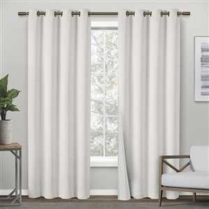 Design Decor Raw Silk Look Thermal 96-in Off-White Polyester Grommet Blackout Thermal Lined Single Curtain Panel