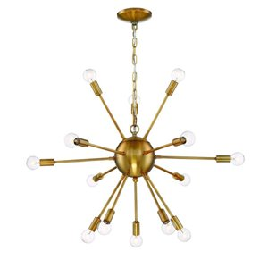 Eurofase 20-in 14-Light Gold Hardwired Abstract Standard Chandelier