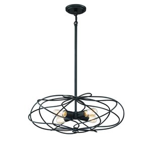 Eurofase 22.25-in Black Hardwired Multi-Light Cage Pendant
