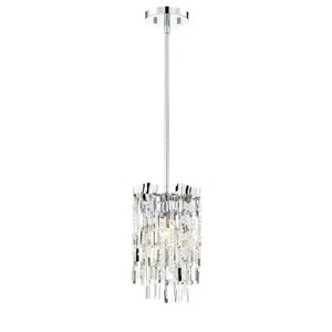Eurofase 7.56-in Chrome Hardwired Single Waterfall Pendant