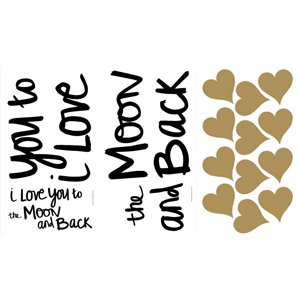 """RoomMates """"I Love You to the Moon and Back"""" 19-Piece Wall Decal"""