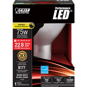 Feit Electric 10.5-Watt/750 Lumens Medium Base (E-26) Dimmable LED Light Bulb (1-Pack)