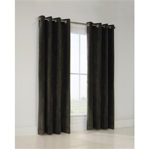 Thermaplus Jubilee 84-in Platinum Faux Velvet Single Curtain Panel