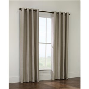 Thermaplus Quezon 95-in Basket Weave Taupe Grommet Single Curtain Panel