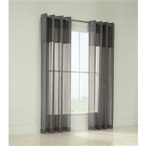 Legacy Dolly Duet 84-in Grey Semi-Sheer Single Curtain Panel