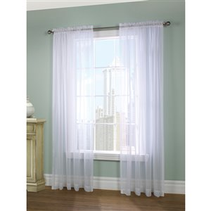 Legacy Voile Paris 84-in White Polyester Sheer Curtain Panels (Set of 2)