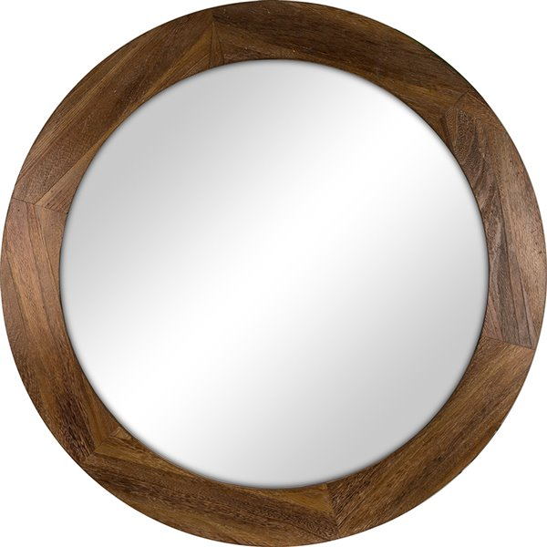 Columbia Frame Rustic Stain Round, Round Wood Frame Mirror Canada