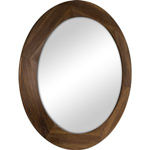 Columbia Frame Rustic Stain Round Framed Wall Mirror