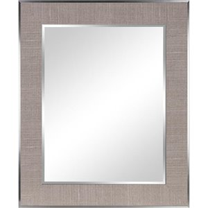 Columbia Frame Light Grey Beveled Rectangle Framed Wall Mirror
