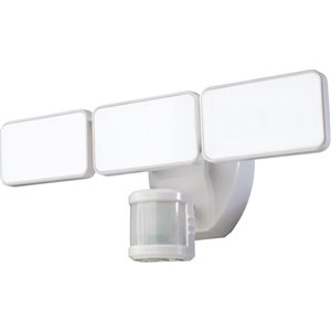 Heath Zenith 240 Degree Of Motion Detection 3-Head Dual Detection Zone White LED Motion-Activated Flood Light w/ Timer