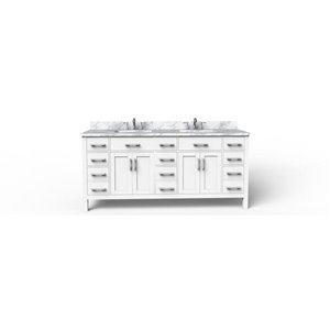 BanoDesign Caru 75-in Double Sink White Bathroom Vanity With Natural Marble Top