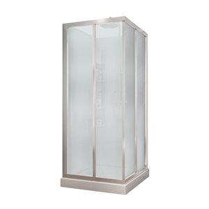 MAAX Mediterranean III 32-in x 32-in x 74-in Square Polystyrene Shower Kit with Mistelite Glass Sliding Door