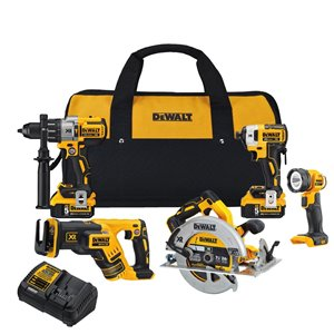 DEWALT 20-Volt Max 5-Tool Brushless Power Tool Combo Kit with Soft Case (2-Batteries Included)