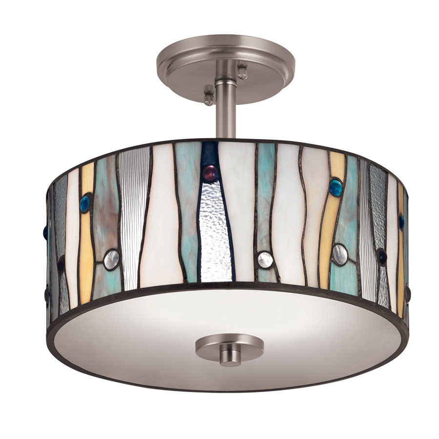 competitive price e7767 64b51 Portfolio 13-in Aztec Brushed Nickel Clear Glass Semi-Flush Mount Light