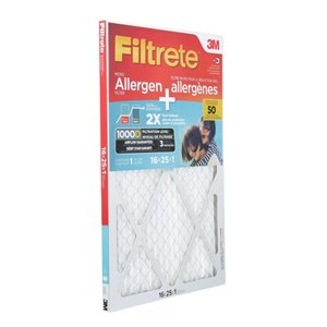 3M 16-in x 25-in x 1-in Dual-Action Micro Allergen Plus 2X Dust Defense Air Filter