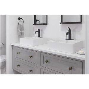 Pfister Breckenridge Black 1-Handle Single Hole 4-in Centerset WaterSense Bathroom Sink Faucet with Drain (Valve Included)