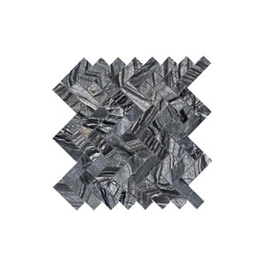 Faber 13-in x 12-in Zebra Black Herringbone Polished Natural Stone Mosaic Floor and Wall Tile