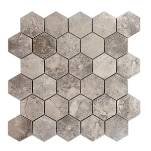 Avenzo 12-in x 12-in Storm Gray Hexagon Ceramic Mosaic Wall Tile