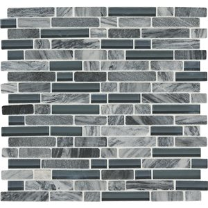 American Olean 12-in x 12-in Westport Stratus Grey Linear Stone and Glass Mosaic Wall Tile