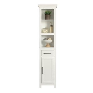 Style Selections 15-in W x 66-in H x 12-in D White Mdf Wall-Mount Linen Cabinet
