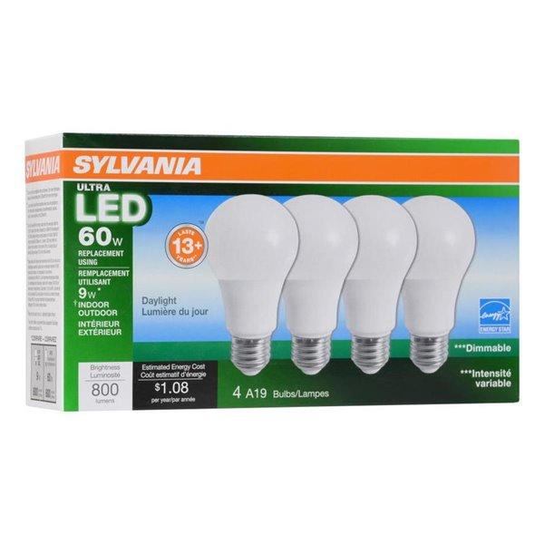 Sylvania 60-Watt/800 Lumens Medium Base (E-26) Dimmable A19 LED Light Bulb 4 Pack