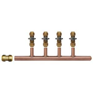 3/4-in Dia x 12-in L. 4-port Brass Push Closed Manifold