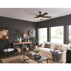 Kichler 52-in Mediterranean Walnut with Bronze Accents 5-Blade Downrod Mount Ceiling Fan with Light Kit
