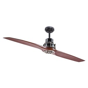 Kichler 56-in Satin Black with Antique Pewter Accents 2-Blade Downrod Mount Ceiling Fan