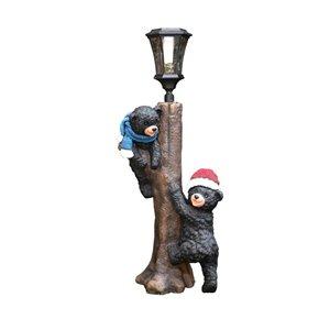 52-in Warm White LED Black Bear Lamp Post
