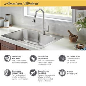 American Standard Raleigh 33-in x 22-in Stainless Steel 1 Stainless Steel Drop-in or Undermount 1-Hole Residential Kitchen Sink All-In-One Kit