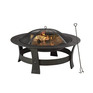 Style Selections Outdoor Wood Fireplace - 19 x 35-in - Steel - Black