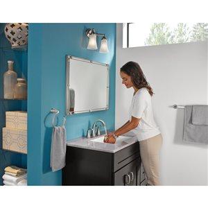 Moen Oxby Spot Resist Brushed Nickel 2-Handle Widespread WaterSense Bathroom Sink Faucet with Drain (Valve Included)