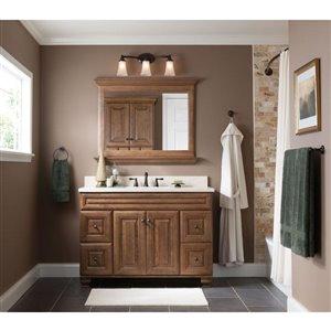 Moen Caldwell Mediterranean Bronze 2-Handle Widespread WaterSense Bathroom Sink Faucet with Drain (Valve Included)