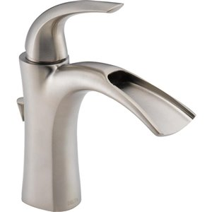 DELTA Nyla Brilliance Stainless 1-Handle Single Hole 4-in Centerset WaterSense Bathroom Sink Faucet with Drain