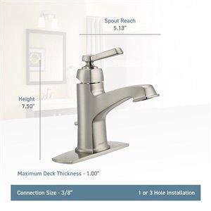 Moen Boardwalk Spot Resist Brushed Nickel 1-Handle Single Hole 4-in Centerset WaterSense Bathroom Sink Faucet with Drain (Valve Included)