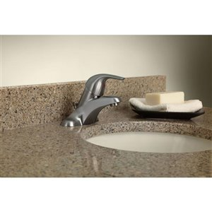 Moen Adler Spot Resist Brushed Nickel 1-Handle 4-in Centerset WaterSense Bathroom Sink Faucet with Drain (Valve Included)