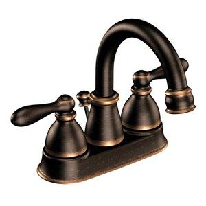 Moen Caldwell Mediterranean Bronze 2-Handle 4-in Centerset WaterSense Bathroom Sink Faucet with Drain (Valve Included)