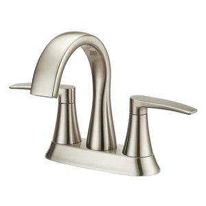 Jacuzzi Lyndsay Brushed Nickel 2-Handle 4-in Centerset WaterSense Bathroom Sink Faucet with Drain (Valve Included)