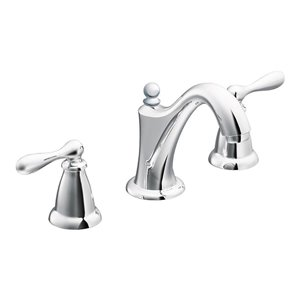 Moen Caldwell Chrome 2-Handle Widespread WaterSense Bathroom Sink Faucet with Drain (Valve Included)